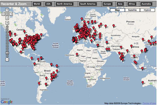Global map of perl monger group locations